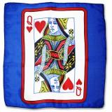 Grand Foulard en Soie Bleu Dame de Coeur 60 cm x 60 cm
