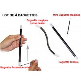 Lot de 4 Baguettes pour magiciens