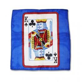 Foulard Soie carte Roi de Trèfle 30 cm X 30 cm